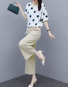 套装女夏2020年新款韩版时尚显瘦雪纺波点上衣阔腿裤两件套