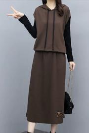 休闲套装连衣裙长袖2020秋季新款时髦洋气减龄显瘦两件套半身长裙