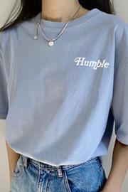 【实拍】100%棉韩版宽松短袖T恤女新款春夏蓝色前后印花纯棉上衣
