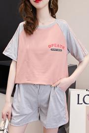 2021新款休闲运动套装女韩版宽松时尚夏装印花短袖短裤跑步两件套