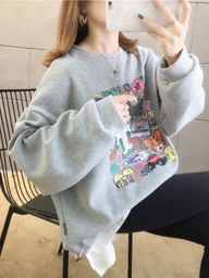 D709【实拍】卫衣女2020春秋薄款宽松韩版印花假两件上衣大码女装