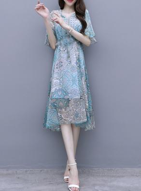 雪纺连衣裙女装2019新款流行夏装收腰显瘦气质裙子仙女超仙甜美潮