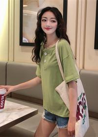 1128#【实拍 6535棉】韩版宽松两粒扣套头短袖打底上衣纯色女体恤