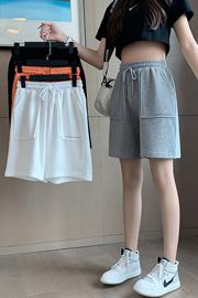 实拍9840(米尼)运动短裤女夏休闲学生高腰中裤跑步宽松五分裤