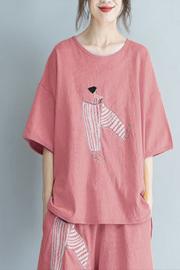 797#200斤大码女装夏季新款短袖T恤女显瘦宽松休闲套装短裤两件套