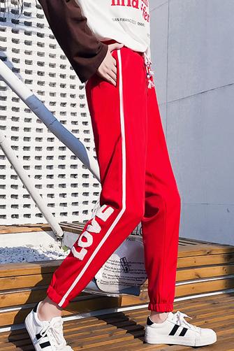 实拍9203#运动裤女学生韩版宽松bf休闲裤夏百搭ulzzang裤子哈伦裤