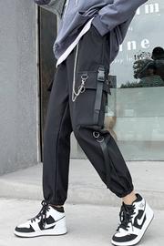 实拍8617加厚加绒工装裤女显瘦高腰秋冬季帅气束脚黑色休闲运动裤