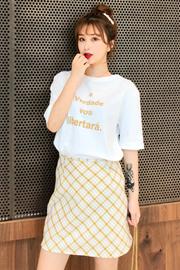 夏装2019新款套装字母印花短袖t恤女+高腰格子半身裙女时尚两件套
