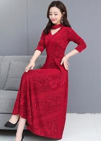 实拍2019秋季新款V领针织提花长袖连衣裙气质修身显瘦打底长裙