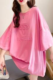 K1131(实拍实价)短袖t恤女2021新款宽松韩版圆领上衣大码女装