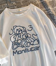 6881#原创实拍 视频 日系复古宽松oversize小熊网红美式短袖T恤