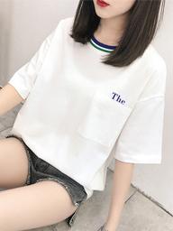 121#实拍(已出货)纯棉字母口袋短袖T恤女(95棉 5氨纶)