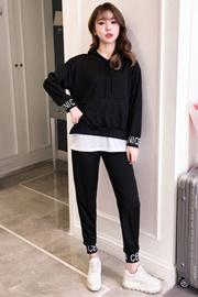 401# 实拍  秋季新款休闲复古港味套装女韩版时尚网红卫衣两件套