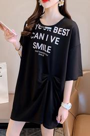 实拍特价【35棉】短袖上衣宽松洋气夏装大码印花贴布小心机t恤女