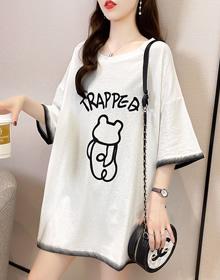509#(实价)【65/35拉架】夏季韩版宽松大码卡通印花短袖T恤女潮