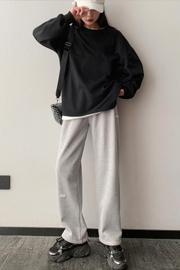 [米呢复合超柔]加绒加厚灰色束脚运动裤女秋冬裤子宽松阔腿长裤