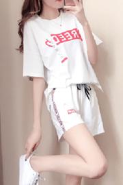 夏天短袖时尚休闲运动服短裤套装女潮2018新款韩版宽松显瘦两件套