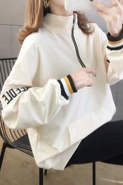2228#(25棉)2020春装薄款刺绣拉链小卫衣女【实拍】