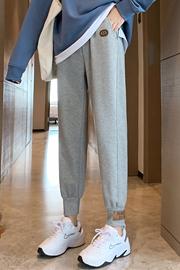 实拍8371灰色运动裤女裤春秋季宽松休闲秋冬季加绒卫裤阔腿束脚裤