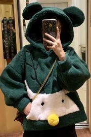 1142 #实拍出图中 摇粒绒 学生卡通秋冬耳朵连帽仿羊羔毛绿色外套