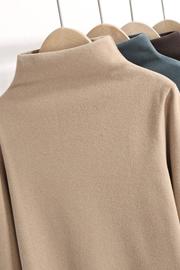 双面绒德绒半高领打底衫女秋冬内搭洋气大码加绒磨毛长袖秋衣上衣