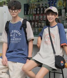2208#【实拍 纯棉】日系情侣装港风短袖T恤韩版宽松学生半袖上衣