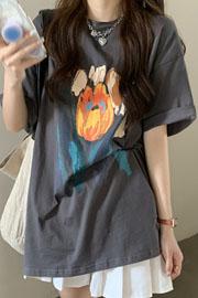 8192#(官图/6535棉/实价)中长款短袖T恤女夏季韩版宽松设计感