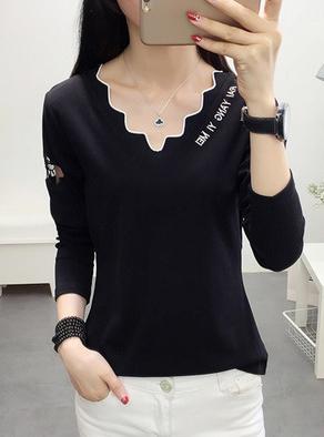 313#(已出货)2019纯棉V领刺绣字母修身长袖T恤衫(95棉 5氨纶)