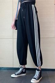 1107#【捻丝面料】春秋运动裤子女学生韩版宽松束脚休闲阔腿裤子