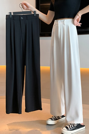 实拍9730高腰西装裤女宽松直筒显瘦春夏垂感拖地裤休闲白色阔腿裤