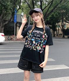 实拍元气少女韩版INS超火原宿风动漫字母宽松中长款T恤 6535面料