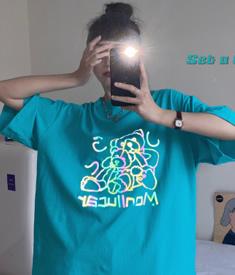 6820#原创实拍 小视频 反光小熊下衣失踪t恤女夏短袖宽韩版绿色bf