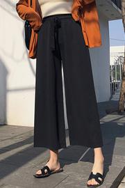 实拍9705#九分裤女松紧腰宽松裤薄款女裤高腰休闲垂感雪纺阔腿裤