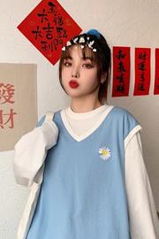 7725【新款 实拍】6535棉春秋菊花刺绣假两件拼接上衣女