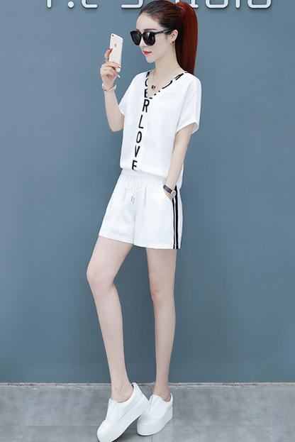 运动套装女夏季2019新款韩版宽松短袖休闲短裤时尚跑步服两件套潮