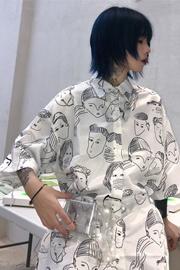 实拍~夏季新款超火潮衬衫女港风短袖夏装宽松复古港味衬衣外套