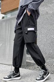 实拍8610加厚加绒工装裤女显瘦高腰秋冬季帅气束脚黑色休闲运动裤