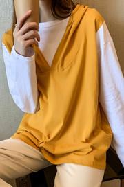 6007#【实拍小视频6535鱼鳞】假两件外套连帽卫衣女宽松长袖上衣