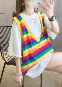 2099(60涤纶 35棉 5氨纶)中长款韩版大码女装两件套短袖T恤