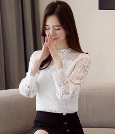 实拍加绒蕾丝衫长袖女2018新款时尚chic韩版秋冬网纱上衣洋气小衫