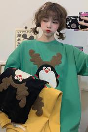 113#(实拍图6535棉)企鹅刺绣绒毛卡通短袖大码女装