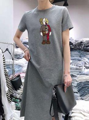 30285[180克双磨牛奶丝]夏季休闲大码中长款过膝T恤裙子女连衣裙
