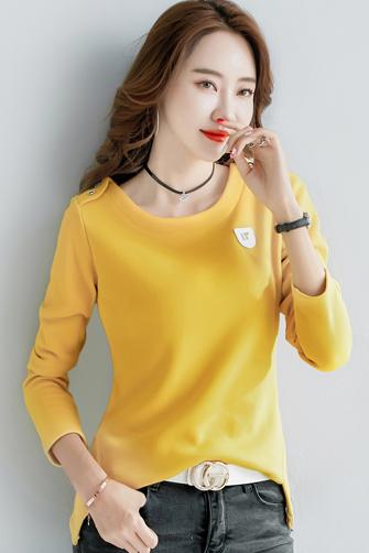 2496#秋冬装女装新款韩范短款款修身长袖t恤打底衫加绒(30%棉)