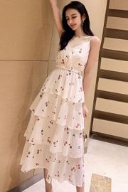 2020夏装新款韩版中长款高腰印花蛋糕裙洋气超仙雪纺吊带连衣裙子
