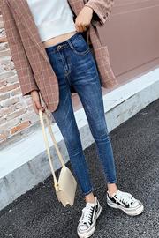 高腰弹力牛仔裤女2019夏季新款韩版显瘦九分紧身小脚裤修身长裤子