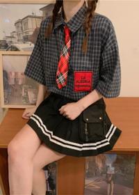 815#【实拍 配领带结】男女日系格子衬衣JK制服学生短袖领带衬衫