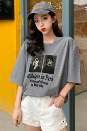 1302实拍(65/35拉架棉)短袖T恤女网红学院风中长款半袖上衣