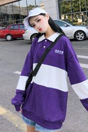 040#实拍【250克加绒】韩版拼接文字polo领卫衣女长袖上衣外套