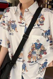实拍 208# 短袖衬衫女夏季新款韩版复古设计感学生T恤上衣2020
