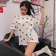 实拍 100%棉 韩版新款网红五角星刺绣短袖T恤女夏季2019